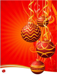 Red Christmas Decoration. Vector Background.