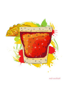 Red Cocktail Vector  Illustration