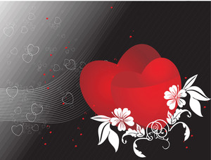 Red Couple Heart Reflection On Lovy Background