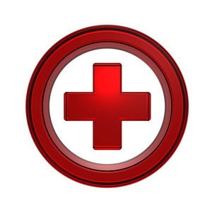 Red Cross In The Circle Isolated On White