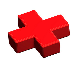 Red Cross Sign Isolated On White