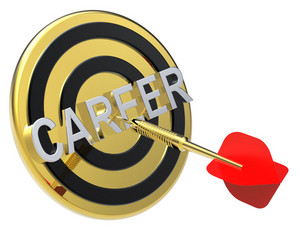 Red Dart On A Gold Target With Text On It. Concept For Job Recruitment Or Career
