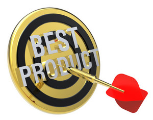 Red Dart On A Gold Target With Text On It. The Concept Of Best Product.