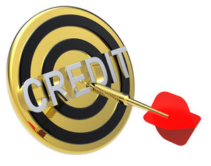 Red Dart On A Gold Target With Text On It. The Concept Of Obtaining Credit.