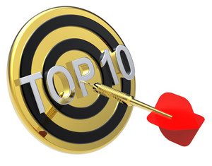 Red Dart On A Gold Target With Text On It. The Concept Of Top 10 List.