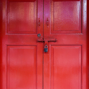 Red door with lock