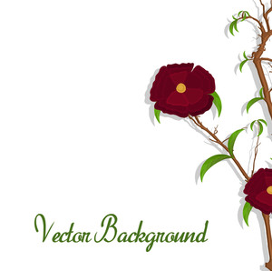 Red Flower Vector Branch