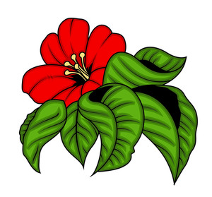 Red Flower With Green Leaves