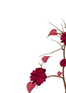 Red Flowers Branch Vector Design