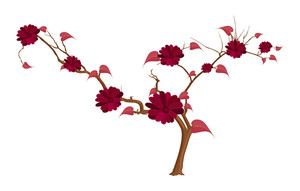 Red Flowers Branches Elements