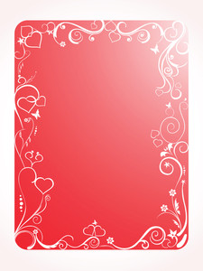 Red Frame With Floral And Hearts On White Background