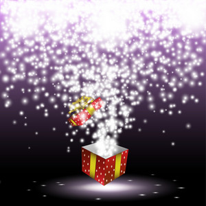 Red Gift Box With Fireworks