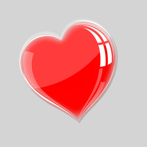 Red Glassy Heart