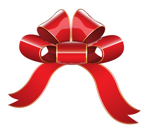 Red Glossy Ribbon Bow Vector Illustration
