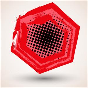 Red Halftone Grunge Frame