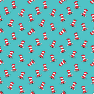 Red Hats Cat And Hat Pattern On A Blue Background