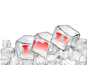 Red  Heart Frozen In Ice Cube Isolated On White .