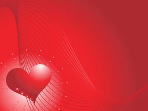 Red Heart On A Red Background With Celebratory Light