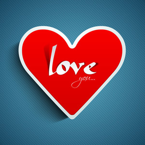 Red Heart With Text Love You On Blue Background