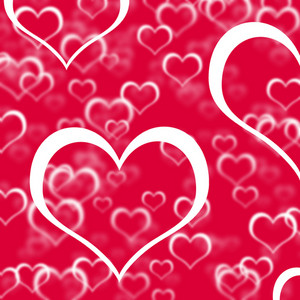 Red Hearts Background Showing Love Romance And Valentines