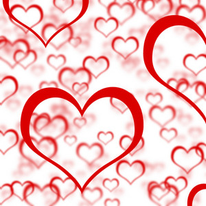 Red Hearts Background Showing Romance Love And Valentines