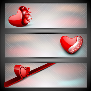 Red Hearts On Grey Background