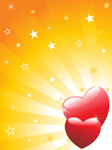 Red Hearts With Rays Background