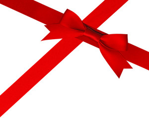 Red Holiday Bow On White Background With Clipping Path
