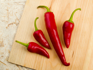 Red Hot Peppers On The Table