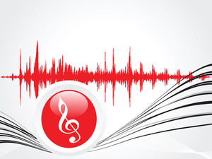 Red Icon Of Musical Notes And Graph In Background