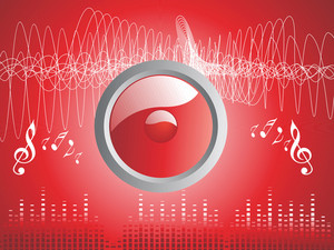 Red Illustration On Musical Theme With Speaker