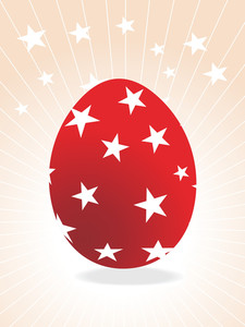 Red Isolated Egg With Rays Background