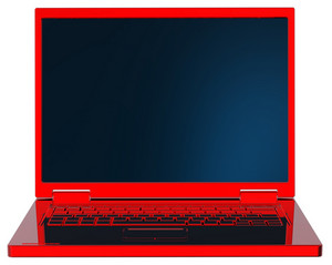 Red Laptop Isolated On White.