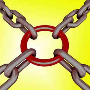 Red Link Yellow Background Shows Strength Security