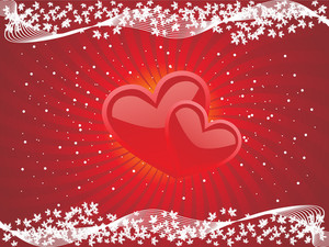 Red Love Background With Mesh