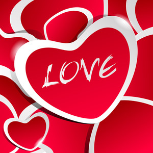 Red Love Illustration With Heart Stickers And White Outline And Shadow