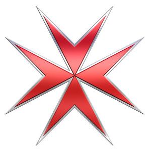 Red Maltese Cross Isolated On White.