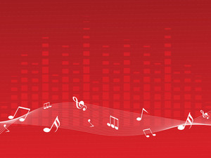 Red Musical Background With Music Waves