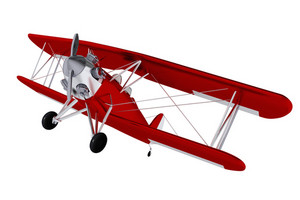 Red Old Biplane