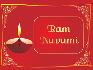 Red Panel Lines Card For Ramnavami