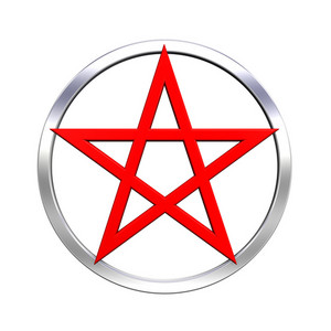 Red Pentagram Isolated On White.