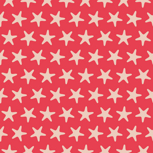 Red Retro Beach Starfish Pattern
