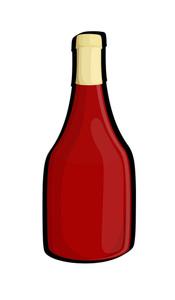 Red Retro Champaign Bottle Design