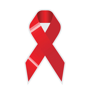 Red Ribbon Cross On On White Background