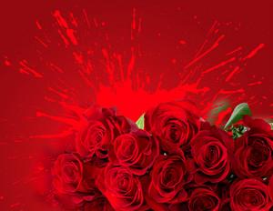 Red Roses Over Splash Background