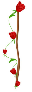 Red Roses Vector Branch