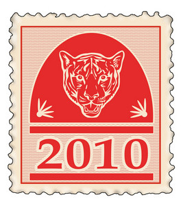 Red Stamp With New Year 2010 Year Of Tiger