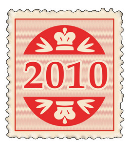 Red Stamp With  New Year 2010