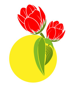 Red Tulip Flowers Vector
