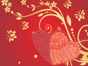 Red Valentines Background With Two Heart And Floral